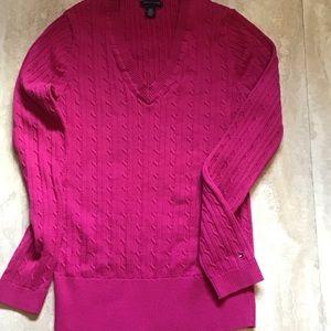 Tommy Hilfiger Ribbed V-Neck Pullover Pink Size L
